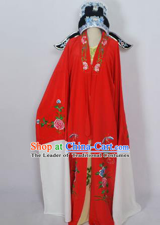 Traditional Chinese Professional Peking Opera Young Men Niche Costume Red Embroidery Robe and Hat, China Beijing Opera Nobility Childe Scholar Embroidered Clothing