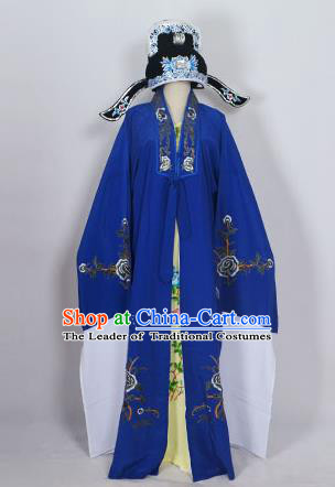 Traditional Chinese Professional Peking Opera Young Men Niche Costume Deep Blue Embroidery Robe and Hat, China Beijing Opera Nobility Childe Scholar Embroidered Clothing