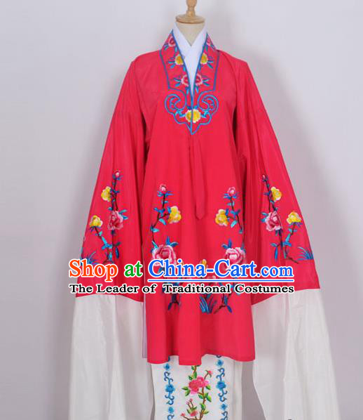 Traditional Chinese Professional Peking Opera Young Lady Costume Rosy Embroidery Mantel, China Beijing Opera Diva Hua Tan Embroidered Dress Clothing