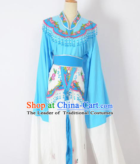 Traditional Chinese Professional Peking Opera Huangmei Opera Young Lady Princess Costume Blue Embroidery Dress, China Beijing Opera Diva Hua Tan Embroidered Clothing