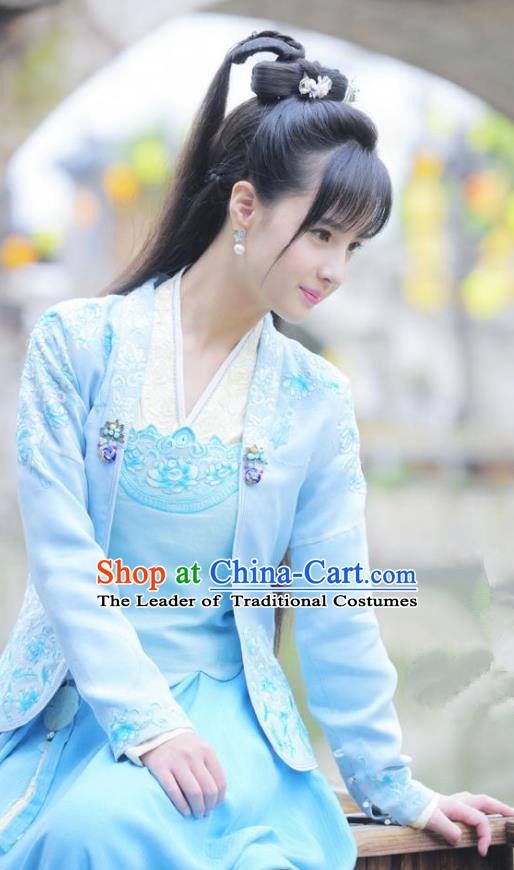 Traditional Chinese Tang Dynasty Young Lady Costume and Headpiece Complete Set, China Ancient Aristocratic Girls Hanfu Dress Clothing for Women