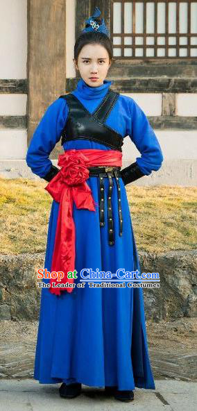Traditional Chinese Ming Dynasty Female Imperial Bodyguard Costume and Headpiece Complete Set, China Ancient Swordswoman Clothing for Women