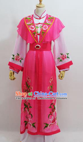 Traditional Chinese Professional Peking Opera Young Lady Princess Costume Pink Embroidery Dress, China Beijing Opera Diva Hua Tan Embroidered Clothing