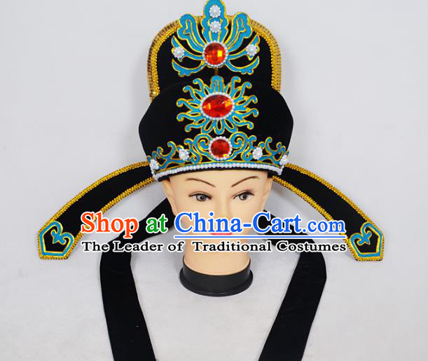 Traditional Handmade Chinese Classical Peking Opera Niche Hair Accessories Black Hat, China Beijing Opera Lang Scholar Headwear