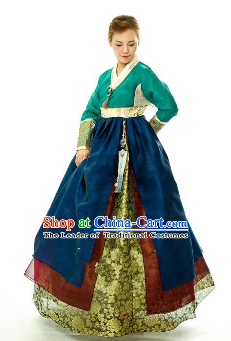 Traditional South Korean Handmade Embroidery Hanbok Peacock Green Full Dress, Top Grade Korea Mother Hanbok Costume Complete Set for Women