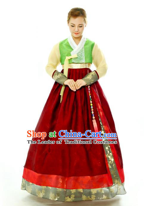 Traditional South Korean Handmade Hanbok Embroidery Red Wedding Full Dress, Top Grade Korea Hanbok Bride Costume Complete Set for Women
