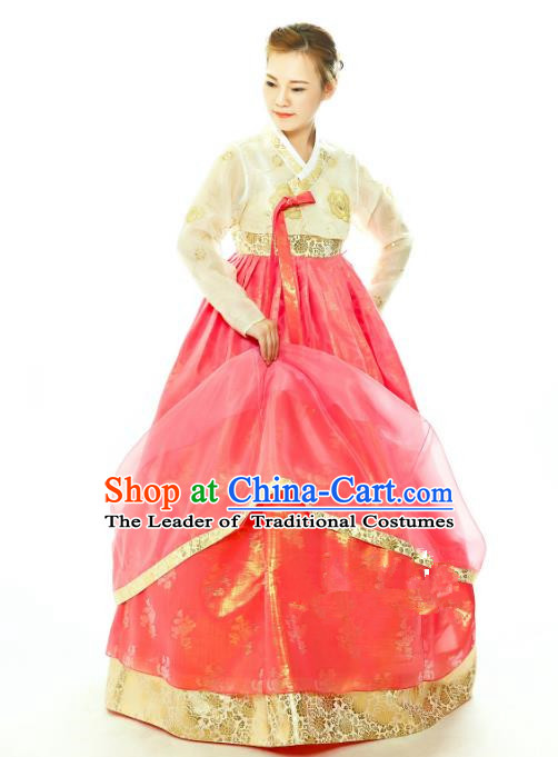 Traditional South Korean Handmade Hanbok Embroidery Watermelon Red Wedding Full Dress, Top Grade Korea Hanbok Bride Costume Complete Set for Women