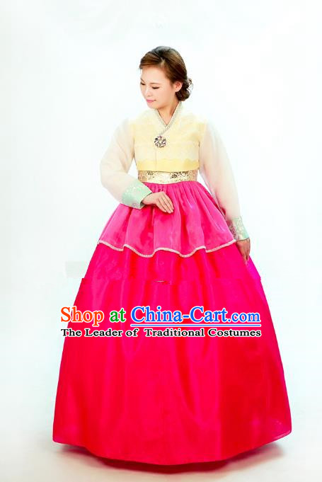 Traditional South Korean Handmade Hanbok Embroidery Bride Wedding Rosy Dress, Top Grade Korea Hanbok Costume Complete Set for Women