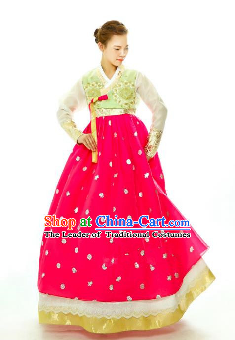 Traditional South Korean Handmade Hanbok Embroidery Rosy Wedding Full Dress, Top Grade Korea Hanbok Bride Costume Complete Set for Women