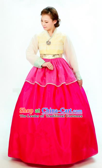 Traditional South Korean Handmade Hanbok Embroidery Bride Wedding Rosy Dress, Top Grade Korea Hanbok Palace Lady Costume Complete Set for Women
