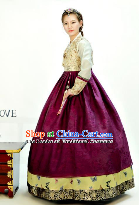 Traditional South Korean Handmade Hanbok Customization Mother Clothing Embroidery Blouse Amaranth Dress, Top Grade Korea Wedding Royal Hanbok Costume for Women