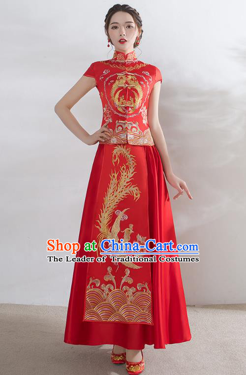 Traditional Ancient Chinese Wedding Costume Embroidery Short Sleeve Xiuhe Suits, Chinese Style Wedding Dress Red Restoring Longfeng Dragon and Phoenix Flown Bride Toast Cheongsam for Women