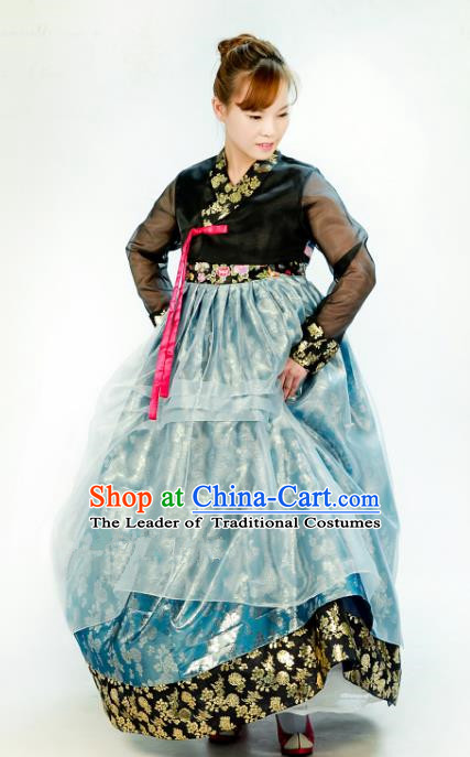 Traditional South Korean Handmade Mother Hanbok Customization Embroidery Clothing Blue Dress, Top Grade Korea Royal Hanbok Costume for Women