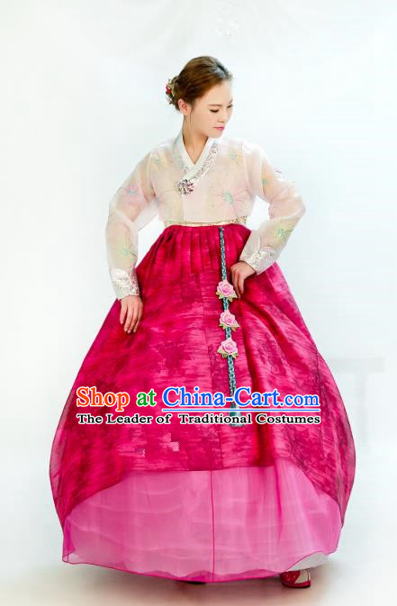 Traditional South Korean Handmade Hanbok Embroidery Wedding Rosy Dress, Top Grade Korea Hanbok Bride Costume Complete Set for Women