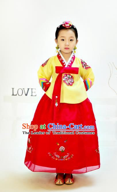 Traditional South Korean Handmade Hanbok Children Birthday Yellow