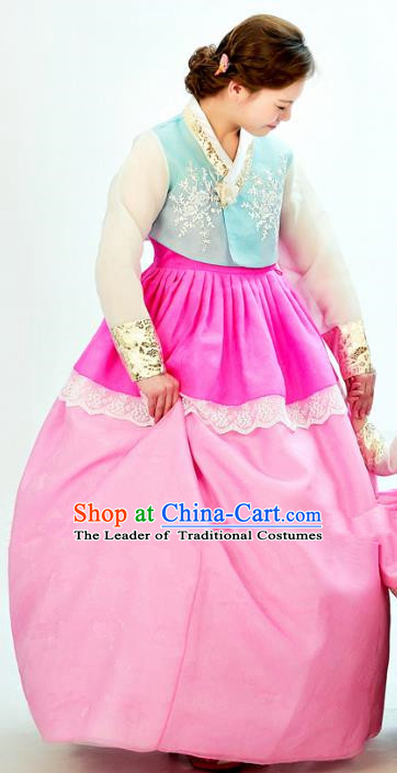 Traditional South Korean Handmade Hanbok Embroidery Pink Clothing, Top Grade Korea Hanbok Costume Complete Set for Women