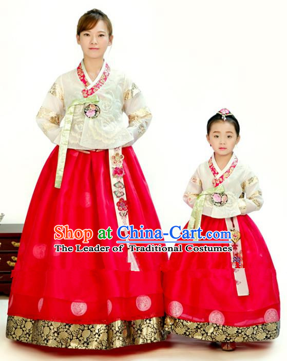 Traditional South Korean Handmade Hanbok Embroidery Red Clothing, Top Grade Korea Hanbok Costume Complete Set for Women for Kids
