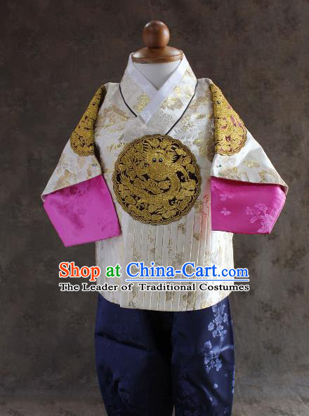 Traditional South Korean Handmade Hanbok Children Baby Birthday Customization Embroidery Dragon Clothing, Top Grade Korea Hanbok Costume Complete Set for Boys