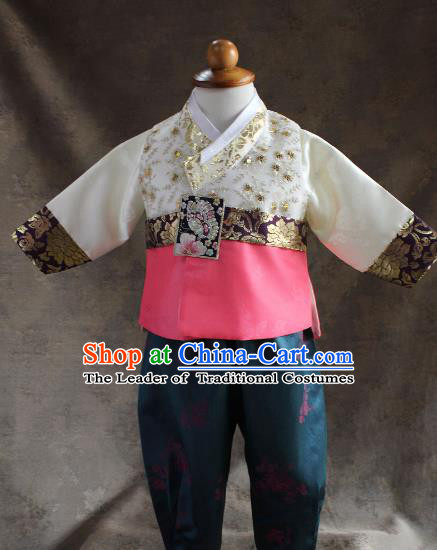 Traditional South Korean Handmade Hanbok Children Little Boys Birthday Customization Embroidery Vest Shirt and Pants, Top Grade Korea Hanbok Costume Complete Set for Kids