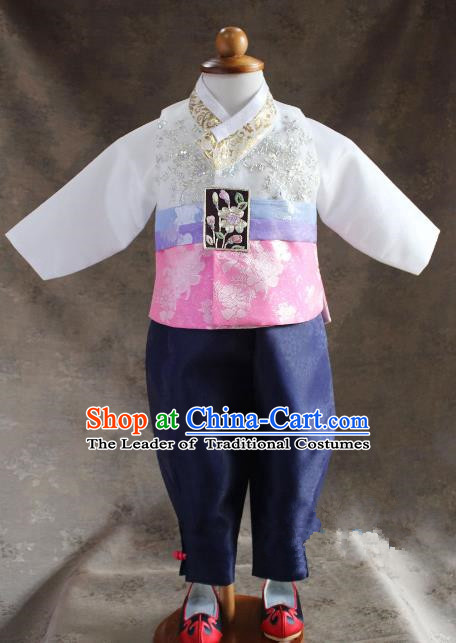 Traditional South Korean Handmade Hanbok Children Little Boys Birthday Customization Embroidery Clothing Complete Set, Top Grade Korea Hanbok Costume for Kids