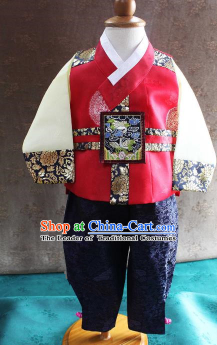Traditional South Korean Handmade Hanbok Children Little Boys Birthday Customization Embroidery Clothing Red Vest Complete Set, Top Grade Korea Hanbok Costume for Kids