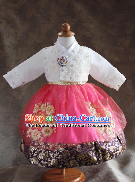 Traditional South Korean Handmade Hanbok Children Little Princess Birthday Customization Embroidery Clothing Complete Set, Top Grade Korea Royal Hanbok Costume for Kids