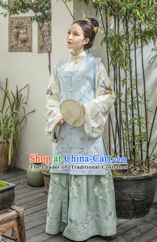 Traditional Ancient Chinese Ming Dynasty Young Lady Costume Embroidered Long Skirt, Elegant Hanfu Clothing Chinese Imperial Princess Clothing for Women
