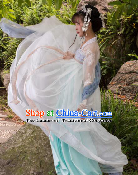 Traditional Ancient Chinese Tang Dynasty Palace Lady Costume Embroidered Blouse and Slip Skirt, Elegant Hanfu Clothing Chinese Imperial Princess Clothing for Women