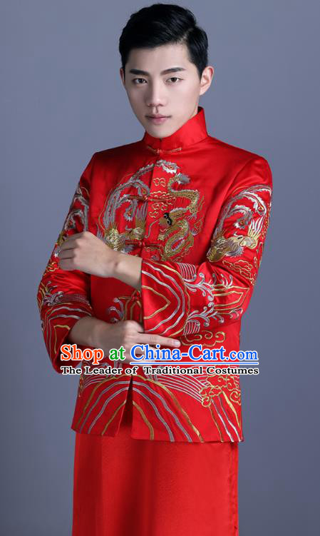 eba31bde4f9f1 Ancient Chinese Costume Chinese Style Wedding Dress Ancient Embroidery  Dragon and Phoenix Flown Groom Toast Clothing