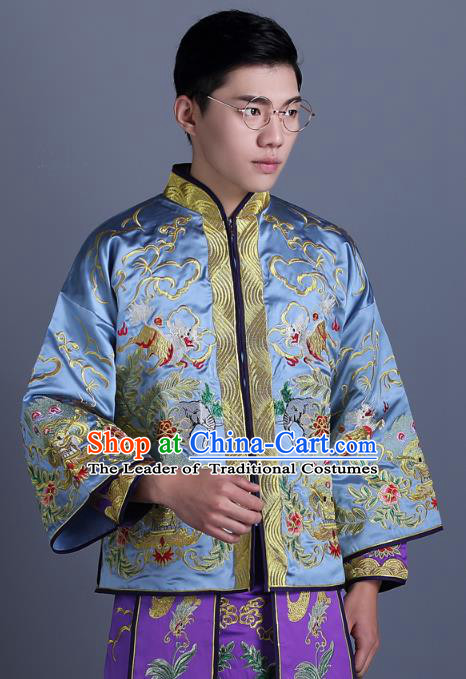 c235eded9 Ancient Chinese Costume Chinese Style Wedding Dress Ancient Embroidery  Dragon and Phoenix Blue Flown Groom Toast Clothing Mandarin Jacket For Men
