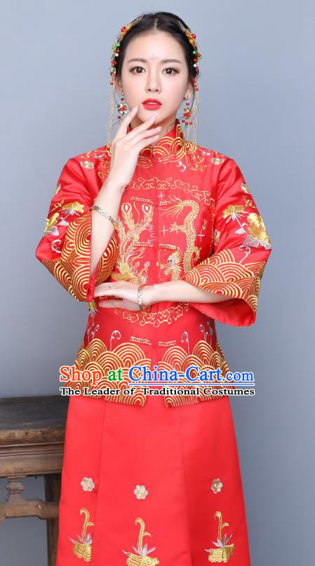 Traditional Ancient Chinese Wedding Costume Handmade XiuHe Suits Embroidery Longfeng Gown Bride Toast Seven Sleeve Cheongsam Dress, Chinese Style Hanfu Wedding Clothing for Women