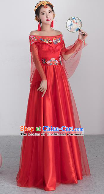 Traditional Ancient Chinese Wedding Costume Handmade XiuHe Suits Embroidery Peony Longfeng Gown Bride Toast Off Shoulder Cheongsam Dress, Chinese Style Hanfu Wedding Clothing for Women
