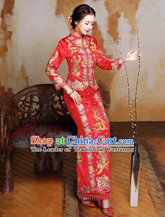 Traditional Ancient Chinese Wedding Costume Handmade XiuHe Suits Embroidery Phoenix Peony Longfeng Gown Bride Toast Slim Cheongsam Dress, Chinese Style Hanfu Wedding Clothing for Women