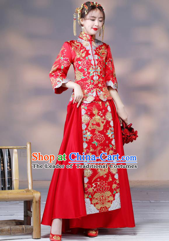 Traditional Ancient Chinese Wedding Costume Handmade XiuHe Suits Embroidery Dragon and Phoenix Bride Toast Cheongsam Dress, Chinese Style Hanfu Wedding Clothing for Women