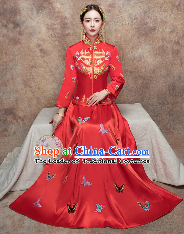 Traditional Ancient Chinese Wedding Costume Handmade XiuHe Suits Embroidery Butterfly Bride Toast Cheongsam Dress, Chinese Style Hanfu Wedding Clothing for Women