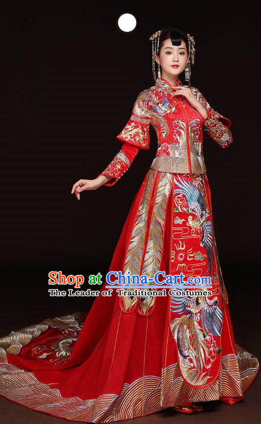 Traditional Ancient Chinese Wedding Costume Handmade Embroidery Trailing Dress Xiuhe Suits, Chinese Style Wedding Dress Red Flown Bride Toast Cheongsam for Women