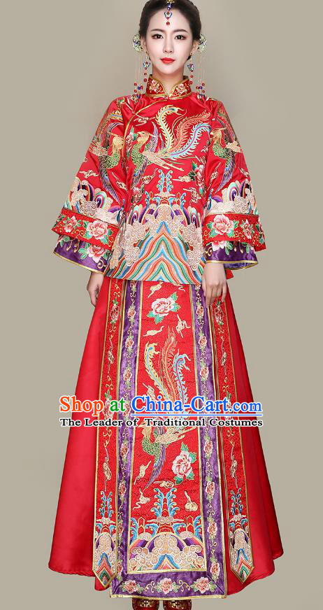 Traditional Ancient Chinese Wedding Costume Handmade Delicacy Embroidery Dress Xiuhe Suits, Chinese Style Wedding Dress Red Flown Bride Toast Cheongsam for Women