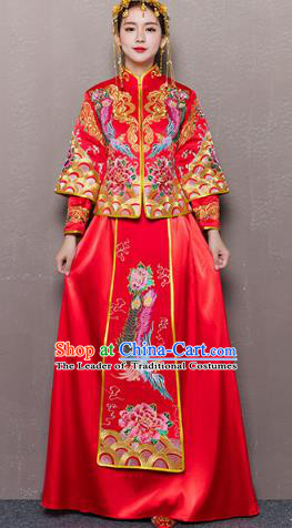 Traditional Ancient Chinese Wedding Costume Handmade Delicacy Embroidery Phoenix Peony Dress Xiuhe Suits, Chinese Style Wedding Dress Red Flown Bride Toast Cheongsam for Women