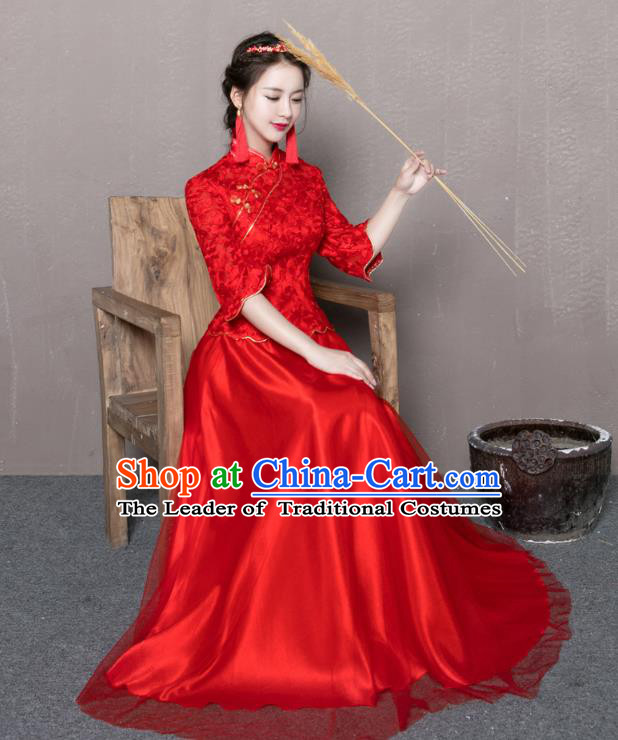 Traditional Ancient Chinese Wedding Costume Handmade Delicacy Embroidery Plated Buttons XiuHe Suits, Chinese Style Wedding Dress Flown Bride Toast Cheongsam for Women
