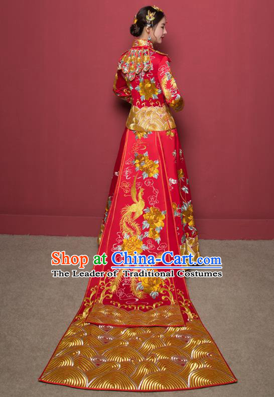 Traditional Ancient Chinese Wedding Costume Handmade Delicacy Full Embroidery Dragon and Phoenix XiuHe Suits, Chinese Style Trailing Wedding Dress Flown Bride Toast Cheongsam for Women