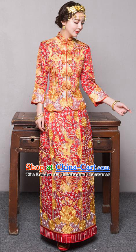 Traditional Ancient Chinese Wedding Costume Handmade Delicacy Embroidery Longfeng Flown XiuHe Suits, Chinese Style Wedding Dress Bride Toast Cheongsam for Women
