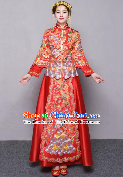 Traditional Ancient Chinese Wedding Costume Handmade Delicacy Embroidery Slim Longfeng Flown XiuHe Suits, Chinese Style Hanfu Wedding Dress Bride Toast Cheongsam for Women