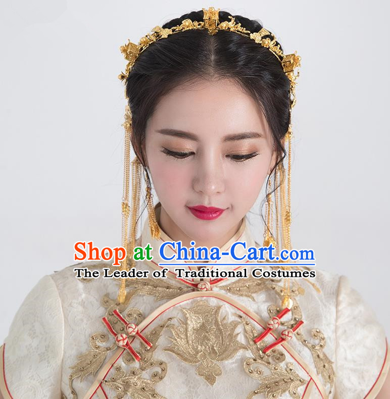 Traditional Handmade Chinese Ancient Classical Hair Accessories Phoenix Coronet Bride Wedding Barrettes Hair Clasp, Xiuhe Suit Hair Jewellery Hair Fascinators Hairpins for Women