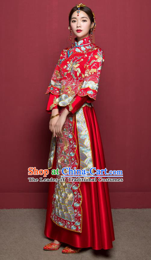 Traditional Ancient Chinese Wedding Costume Handmade Delicacy Embroidery Phoenix Slim Flown XiuHe Suits, Chinese Style Hanfu Wedding Dress Bride Toast Cheongsam for Women