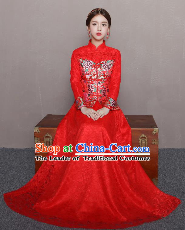 Traditional Ancient Chinese Wedding Costume Handmade Delicacy Embroidery Phoenix XiuHe Suits Slim Red Lace Dress, Chinese Style Hanfu Wedding Bride Toast Cheongsam for Women