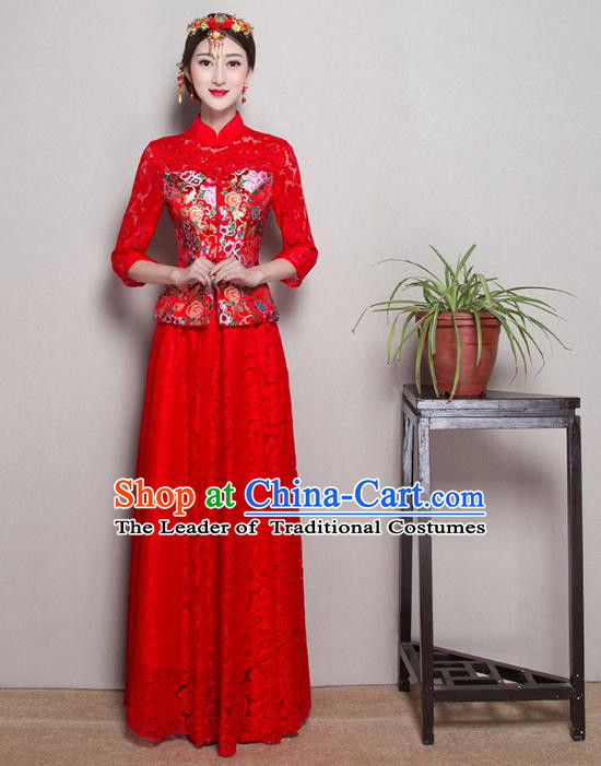 Traditional Ancient Chinese Wedding Costume Handmade Delicacy Embroidery Phoenix XiuHe Suits Slim Middle Sleeve Red Lace Dress, Chinese Style Hanfu Wedding Bride Toast Cheongsam for Women