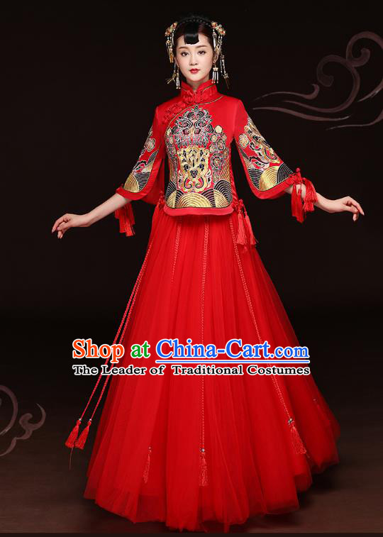 Traditional Ancient Chinese Wedding Costume Handmade Delicacy Embroidery Phoenix Peony Red Veil XiuHe Suits, Chinese Style Hanfu Wedding Bride Toast Cheongsam for Women