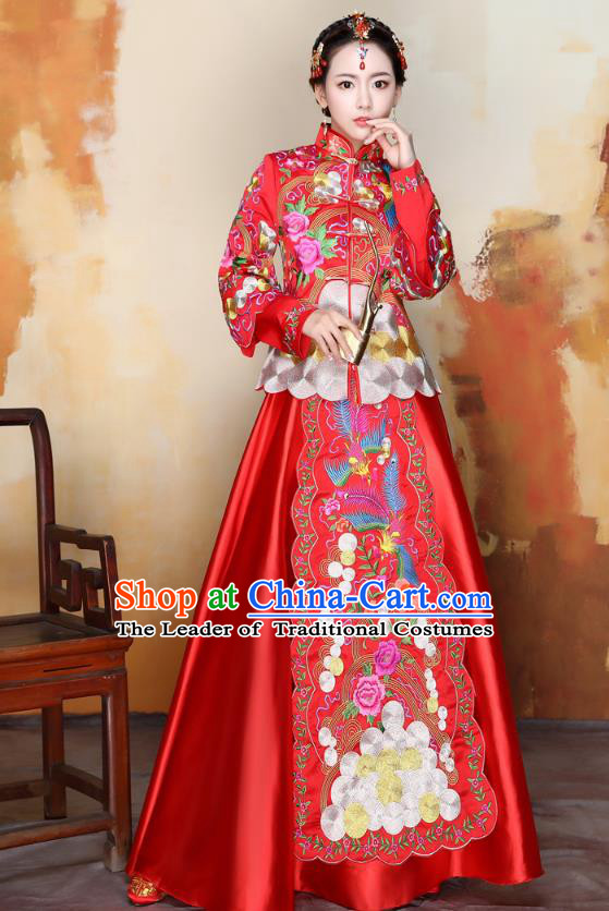 Traditional Ancient Chinese Wedding Costume Handmade Delicacy Colorful Embroidery Phoenix Peony Red Trailing XiuHe Suits, Chinese Style Hanfu Wedding Bride Toast Cheongsam for Women