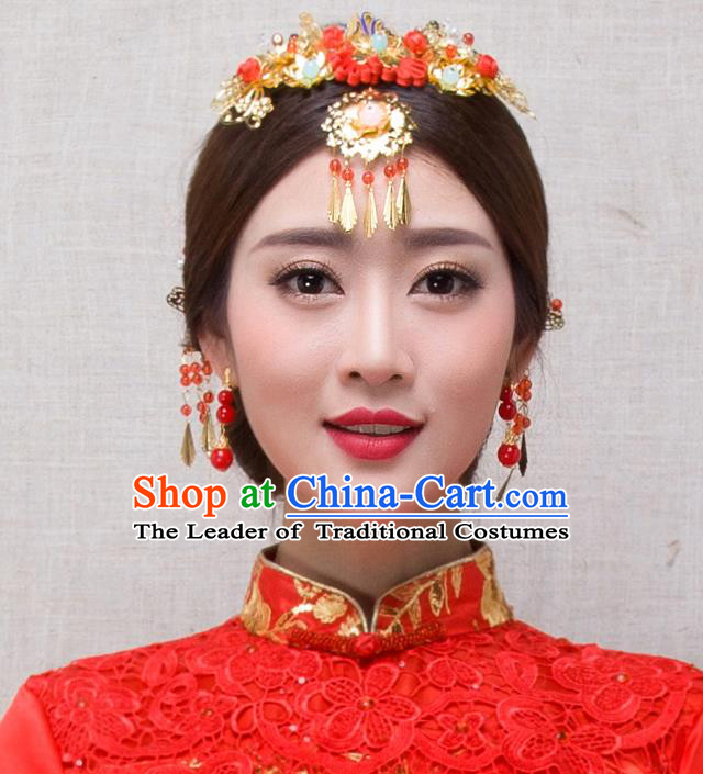 Traditional Handmade Chinese Ancient Classical Hair Accessories Complete Set Bride Wedding Barrettes and Earrings, Xiuhe Suit Hair Jewellery Hair Fascinators Hairpins for Women