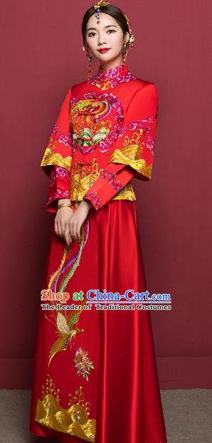 Traditional Ancient Chinese Wedding Costume Handmade Delicacy Embroidery Colorful Phoenix XiuHe Suits, Chinese Style Hanfu Wedding Bride Toast Cheongsam for Women